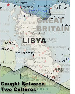 Libya map and UK map blended